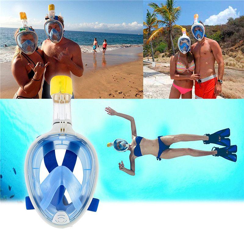 2019 Nueva máscara de buceo subacuática Conjunto de snorkel Entrenamiento de natación Buceo mergulho máscara de snorkel de cara completa Antiniebla Sin cámara