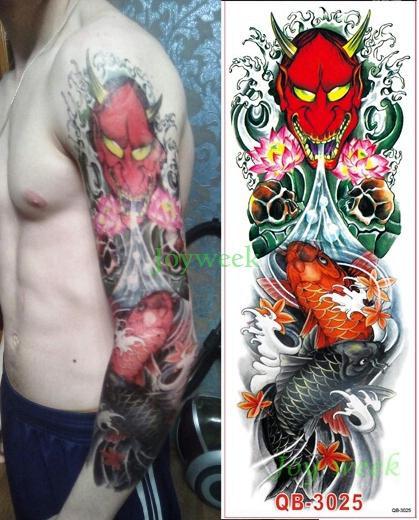 Impermeabile Autoadesivo del tatuaggio temporaneo braccio pieno grande cranio vecchia scuola adesivi tatto flash tatuaggi falsi tatuaggio tatoo uomini donne ragazza 9