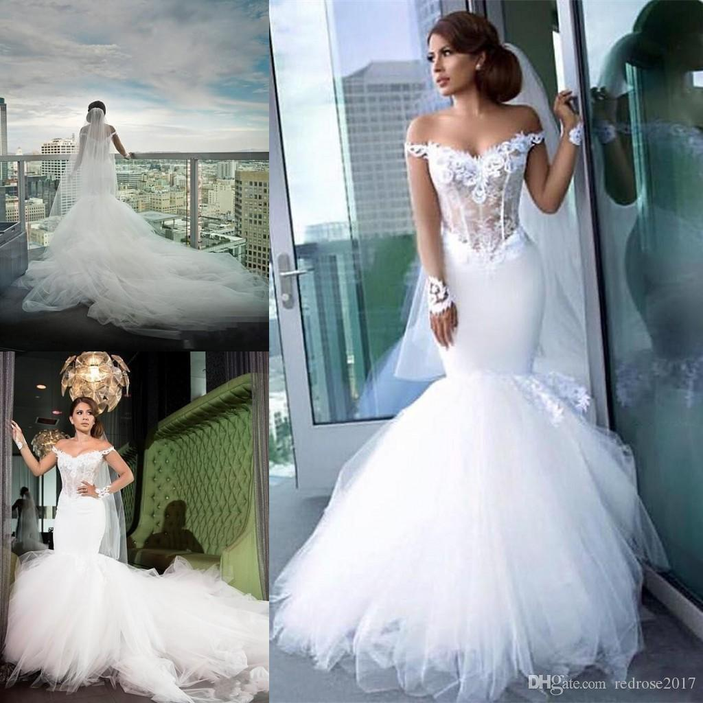 2018 New Mermaid Wedding Dresses Lace Appliques Illusion Off ...