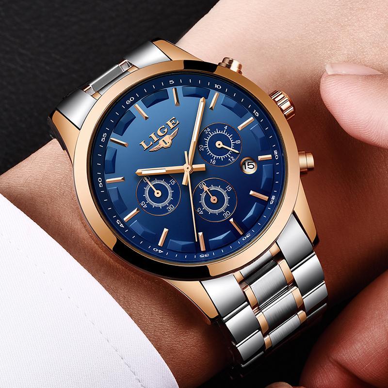 5c22337f80ff Compre Nuevo LIGE Reloj Hombres Marca De Lujo Cronógrafo Relojes Deportivos  De Los Hombres A Prueba De Agua Completo Hombres Relojes De Cuarzo De Acero  ...