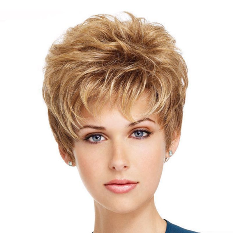 Großhandel Frauen Blonde Farbe Haar Ersatz Perücken Kurze Haare
