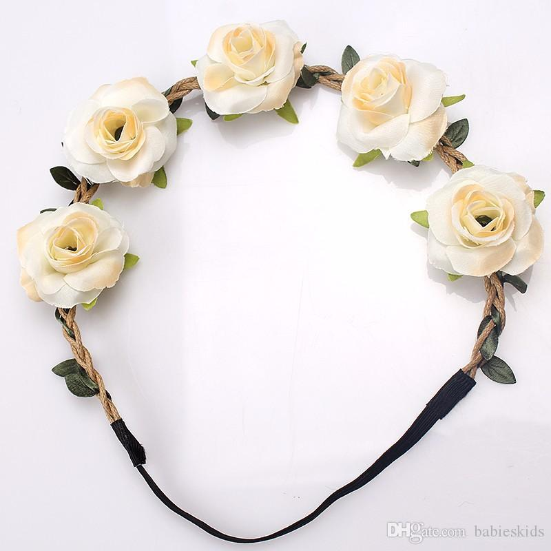 Presentes Flower Rose Moda Headband Headwear Festal decoração Photo Props menina Elastic hairbands coreano Floral Acessórios de touca de cabelo