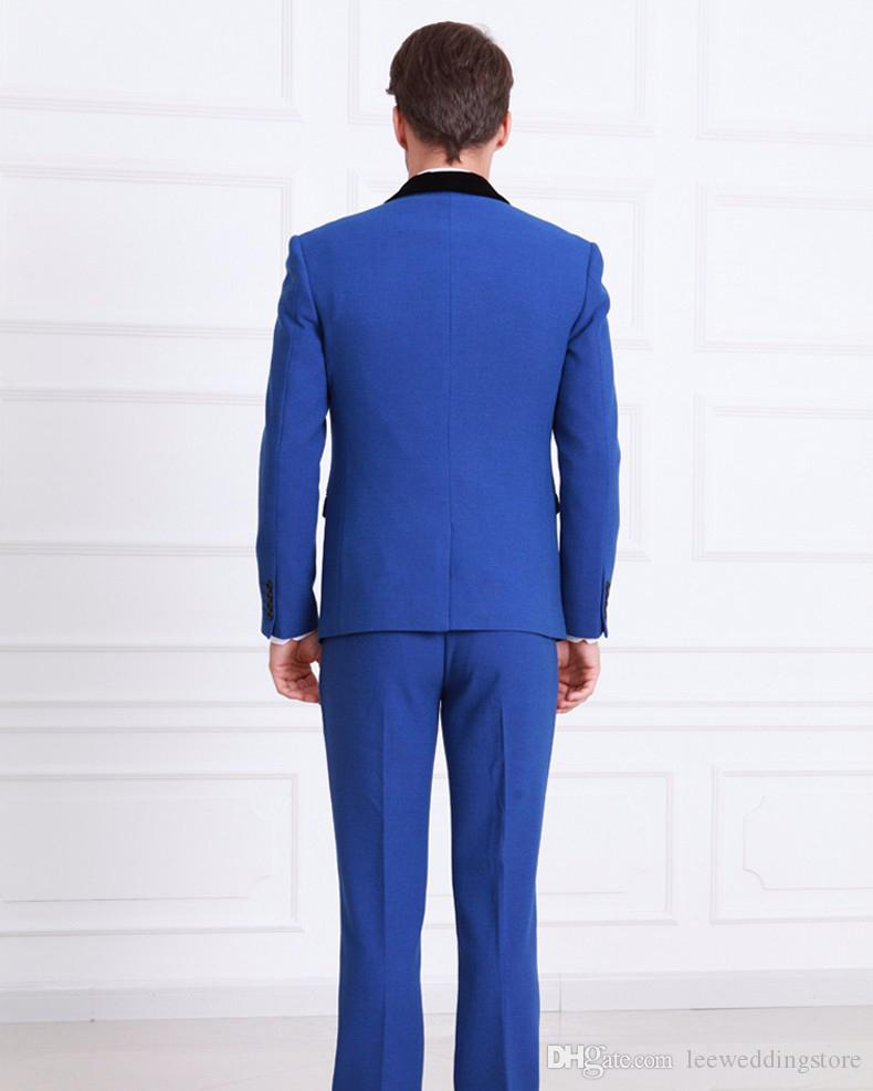 Men Suits Slim Fit Custom Made Royal Blue Tuxedo England Style Wedding Groom Prom Party Business Man Suits Terno Blazer Masculino