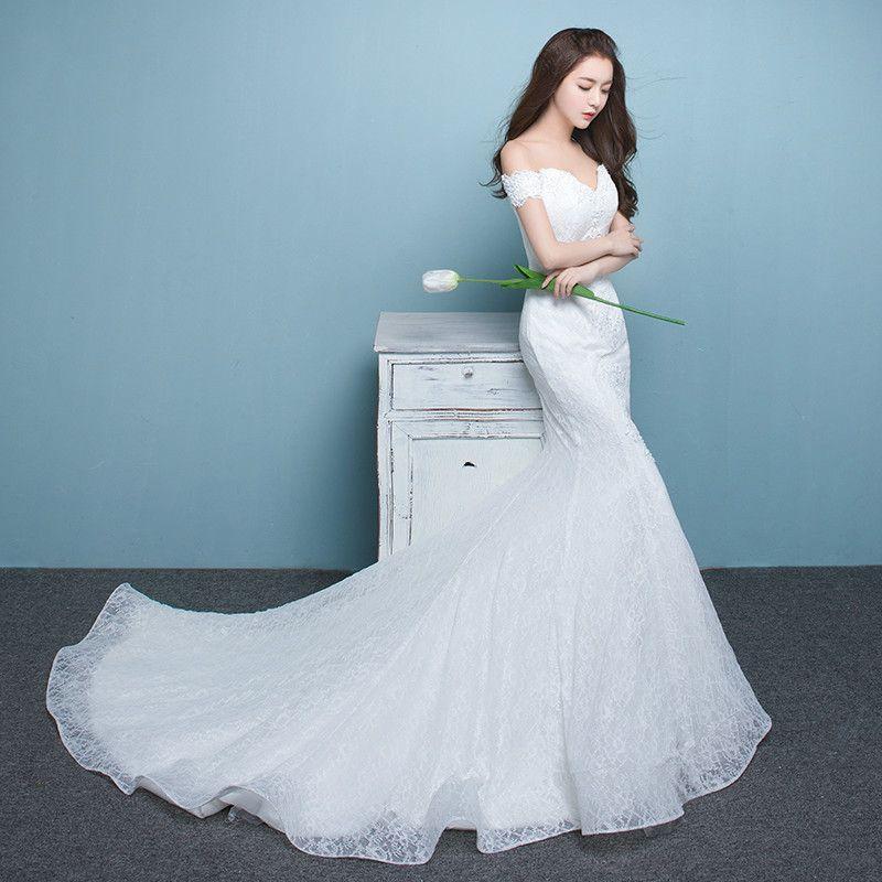 4db9a922e57 Wedding Dress Word Shoulder 2018 New Korean Style Trim Fish Tail
