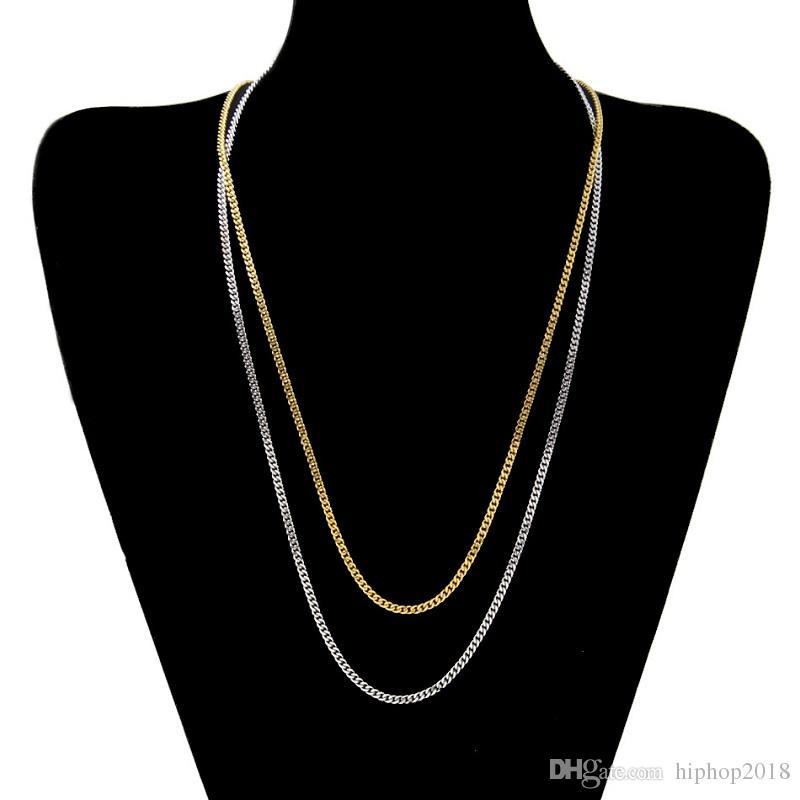 Gold Silver Miami Cuban Chaîne Chaîne HiPhop Colliers Hou Hop Hop Collier Bijoux 18-30inch