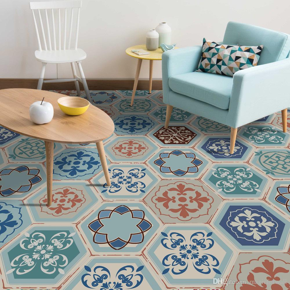 10 Unids / set Retro Style Home Decoration Hexágono PVC Floor Sticker Azulejo Calcomanía Antideslizante Baño Impermeable Living Room Decoration Art Poster