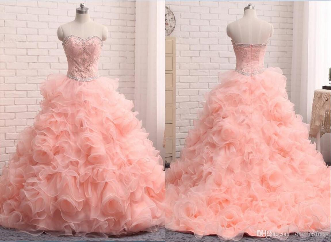 2018 Coral Sweet 16 Dresses Ball Gown Prom Dress Sweetheart Ruffle ...