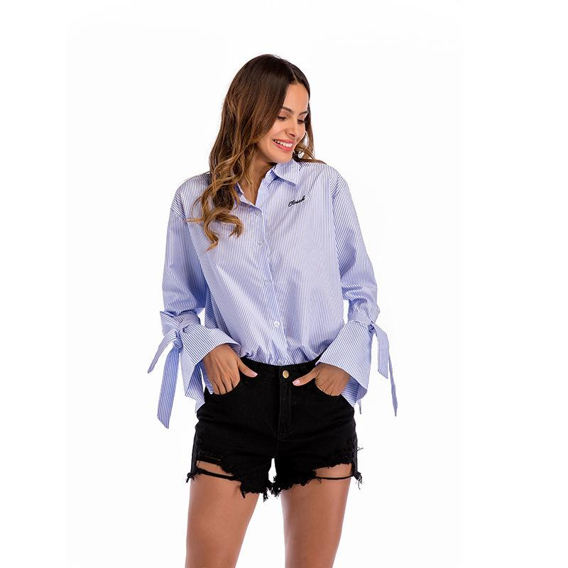 f53a93c6b81e Tie Ruffle Long Sleeve Women Blouse Striped Turn Down Collar Buttons Blouses    Shirts Femme 2019 WS6461U Online with  44.82 Piece on Feeling03 s Store  ...