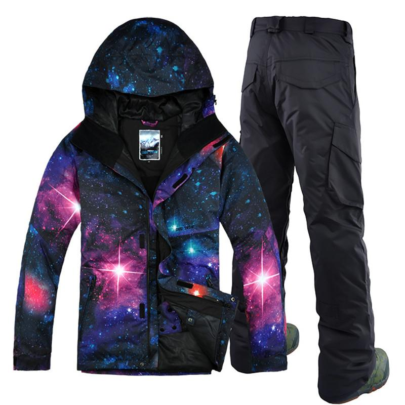 GSOU SNOW  Men Ski Jacket Pant Snowboard Suit Windproof Waterproof Outdoor Sport Wear Male Skiing Clothing Trouser Suit Set