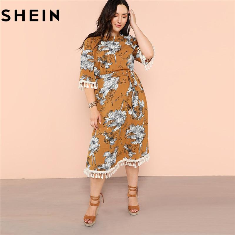 07ea227826e 2019 SHEIN Bohemian Plus Size Tassel Cuff Hem Womens Straight Floral Print  Dress 2018 New Fashion Fringe Detail Belted Boho Dresses From Lucycloth