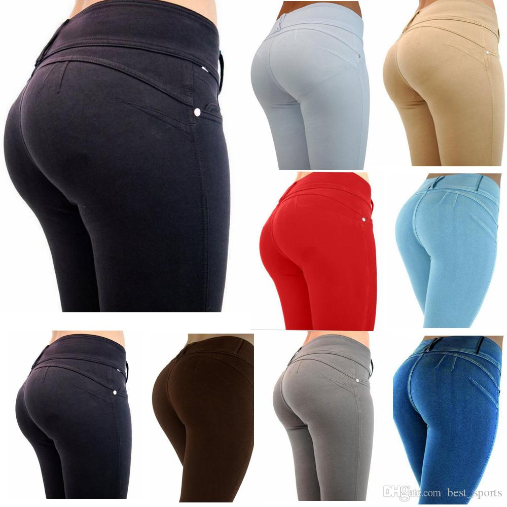 8 Color Pencil Pants Womens Skinny Leggings Hip Push Up Tights Jegging Stretch High Waisted Trousers Tights EEA154