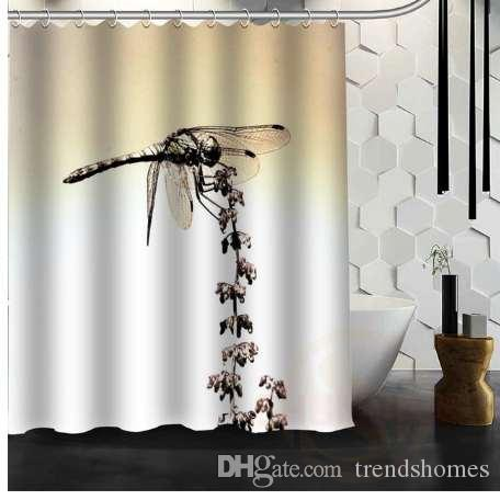2019 Best Nice Custom Dragonfly Shower Curtain Bath Waterproof Fabric For Bathroom MORE SIZE W2 From Trendshomes 4297