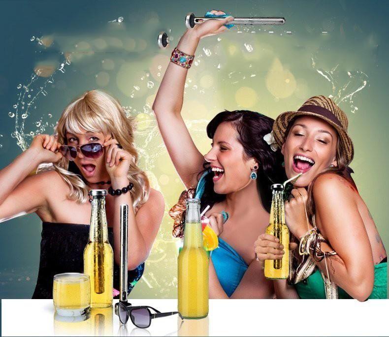 304 Stainless Steel Wine Liquor Chiller Cooling Ice Stick Rod In-Bottle Pourer Beer chiller stick double set b235