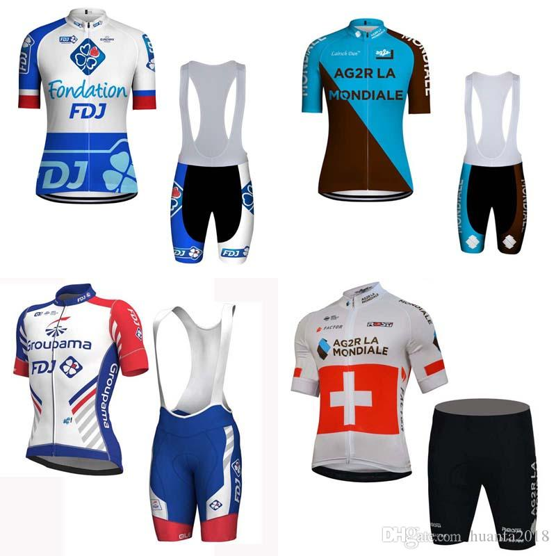 e812d645f FDJ AG2R Team Cycling Short Sleeves Jersey Bib Shorts Sets 2018 New ...