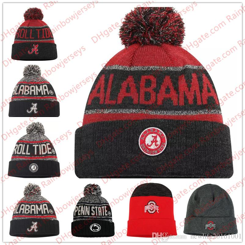 31f39aecfede17 2019 NCAA Knit Hat Beanies Alabama Crimson Tide Ohio State Buckeyes Penn  State Nittany Lions Heathered Charcoal Black Gray Red Cuffed Knit Beany  From ...
