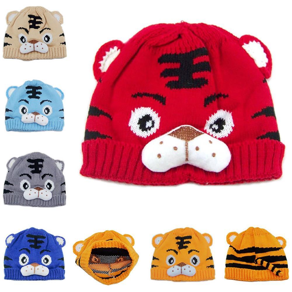 2019 Autumn Winter Newborn Baby Knit Hat Tiger Cartoon Cap Warm Winter Hats  Knitted Wool Hemming Kids Boys Girls Beanie Hat From Humom ed0f10ec3e4