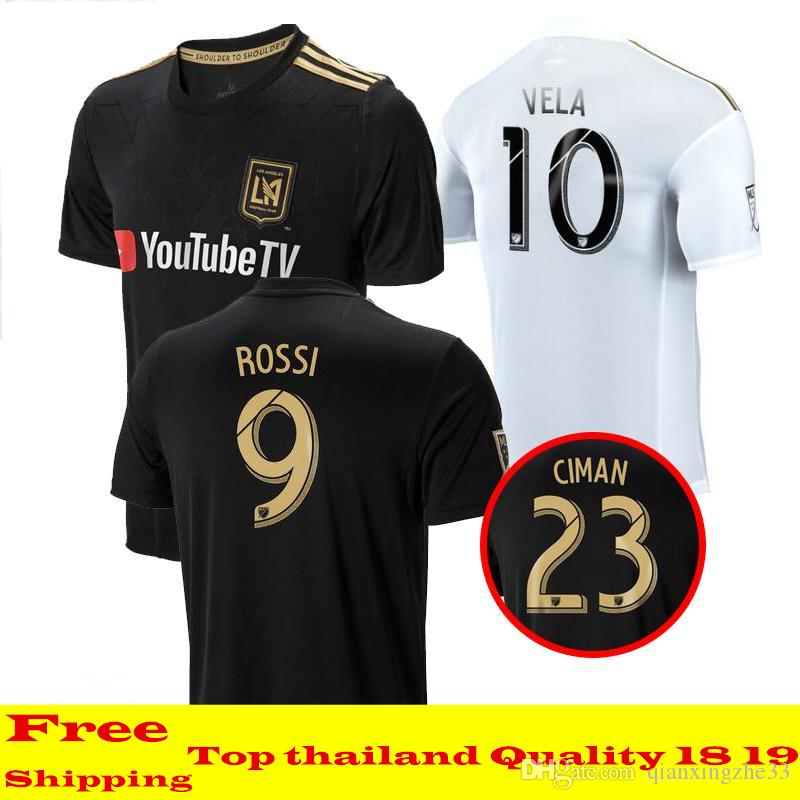 2018 LAFC Soccer Jersey Home Black Away White MLS Los Angeles FC Soccer  Shirts GABER ROSSI VELA CIMAN ZIMMERMAN Football Uniforms Canada 2019 From  ... b9222223b