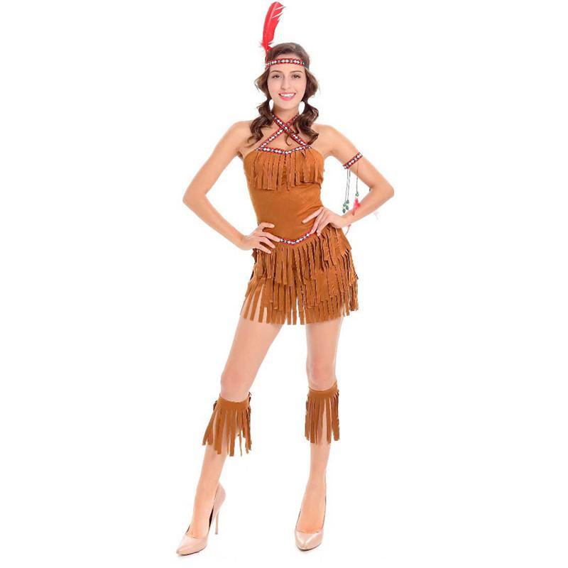 8b134c330465 Acquista Adulto Sexy Cosplay Pocahontas Matoaka Costumi Indiani Squaw  Cowgirl Princess Costume Halloween Indiani Del Partito Abbigliamento  Danzante A  25.2 ...