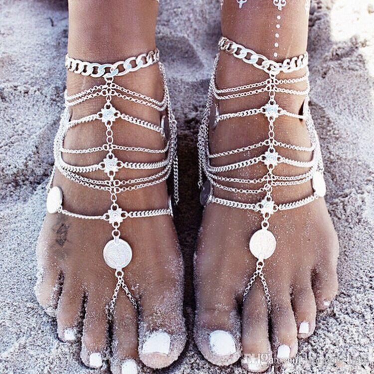 Vintage Cheap Barefoot Beach Sandals For Weddings Silver Anklets Chain Gold Coin Tassels Toe Ring Beading Bridal Bridesmaid Foot Jewelry