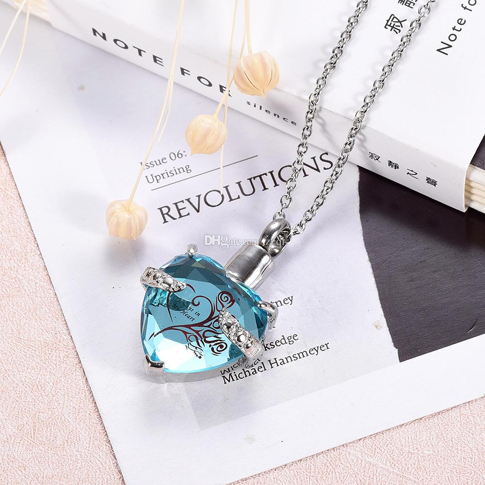 Cremation memorial urn necklace crystal heart stainless steel to keep human ashes or pet ashes memorial pendant necklace