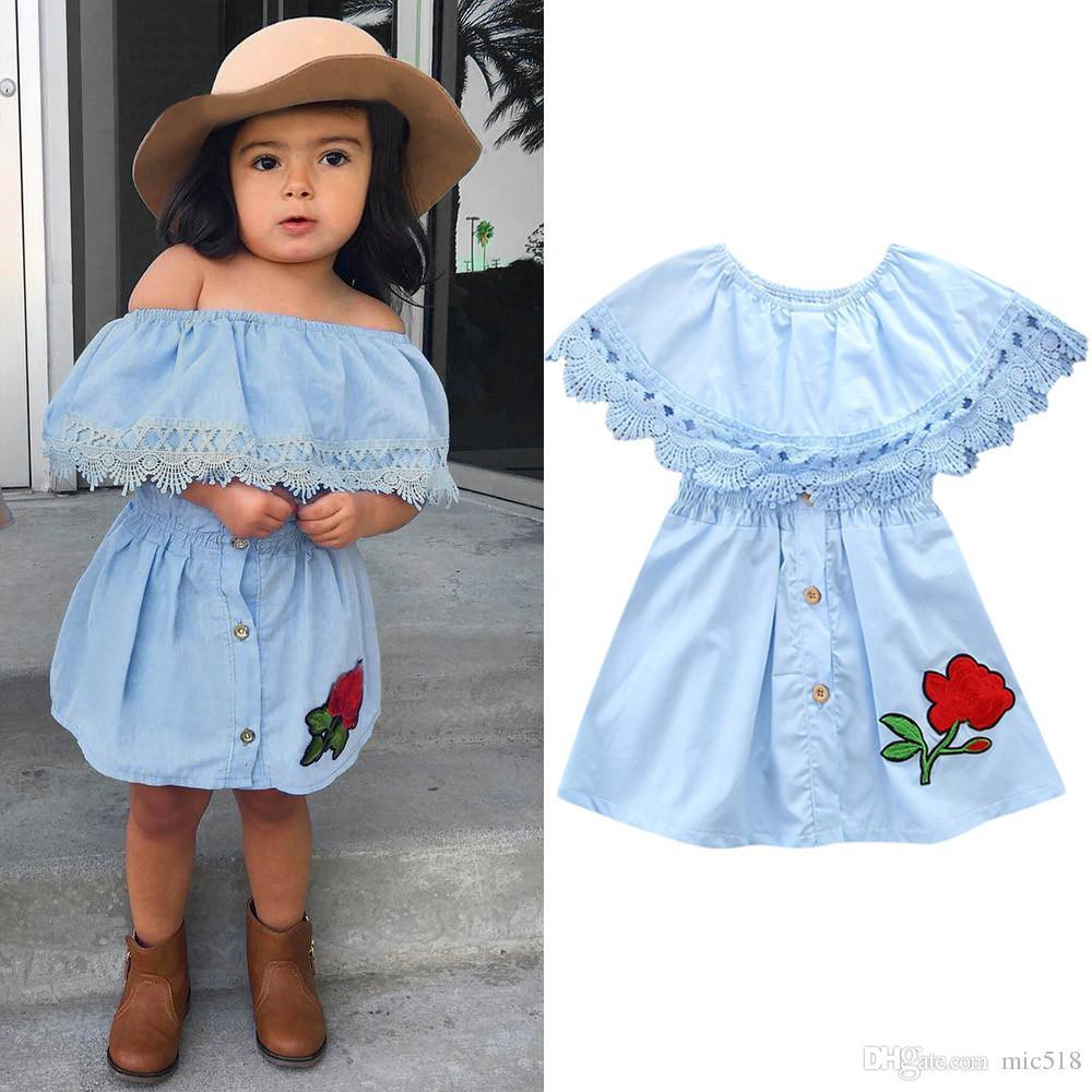 02584b459cc8 2019 Infant Baby Summer Dress Kids Girl Toddler Princess Lace Denim ...