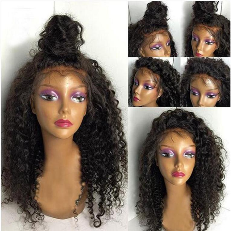 8A Glueless Lace Front Wigs Natural Black Kinky Curly Brazilian Human Hair Lace Wigs For Women Heat Resistant High Quality Full Lace Wigs