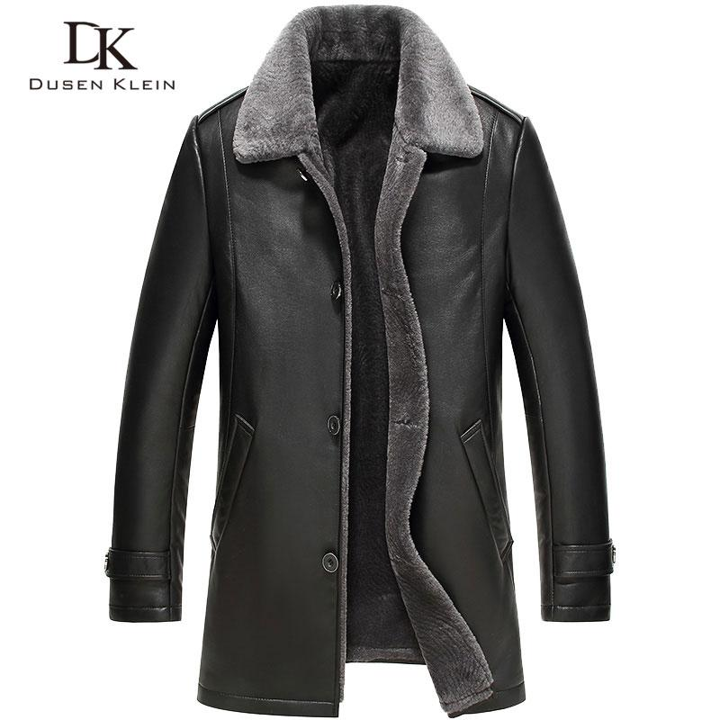 d987f59109a Men s Leather Jacket Wool Interior 2016 New Dusen Genuine Sheepskin ...
