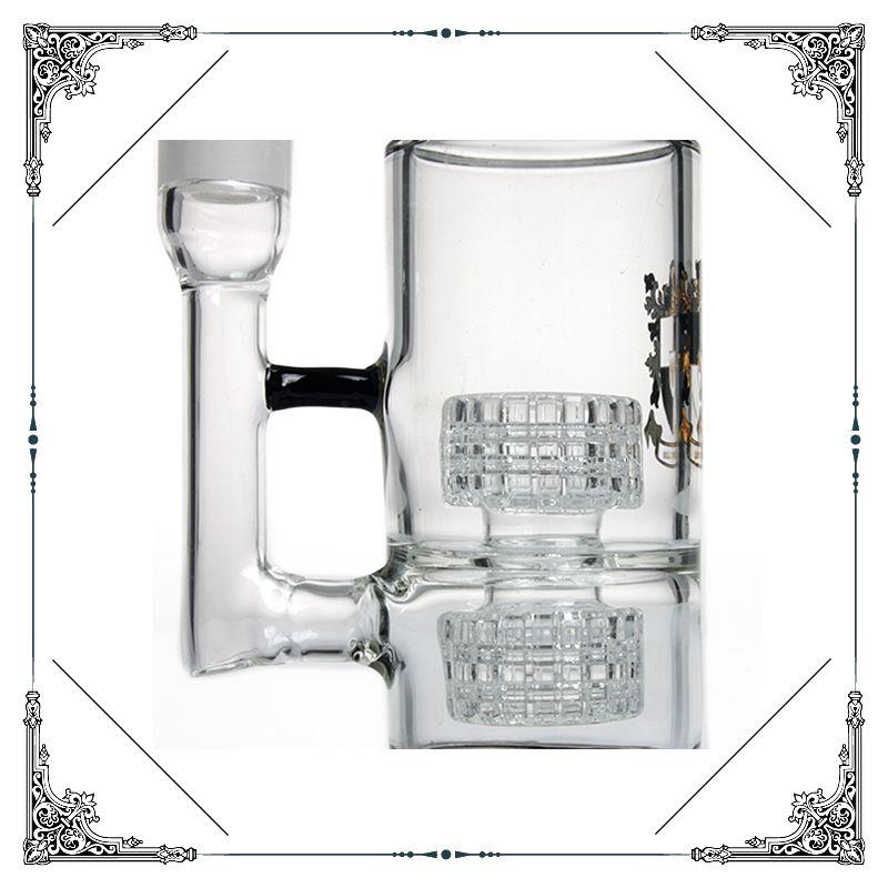 en blanco y negro de doble matriz Perc Glicerina bobina congelable del tubo bong acumulación tubería de agua de cristal de un burbujeador fumar pipas de agua envío libre embriagadora