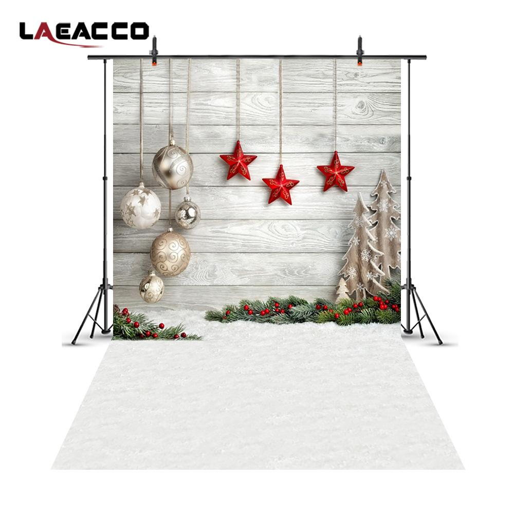 2018 Laeacco Christmas Balls Stars Snow Ground Wooden Wall ...