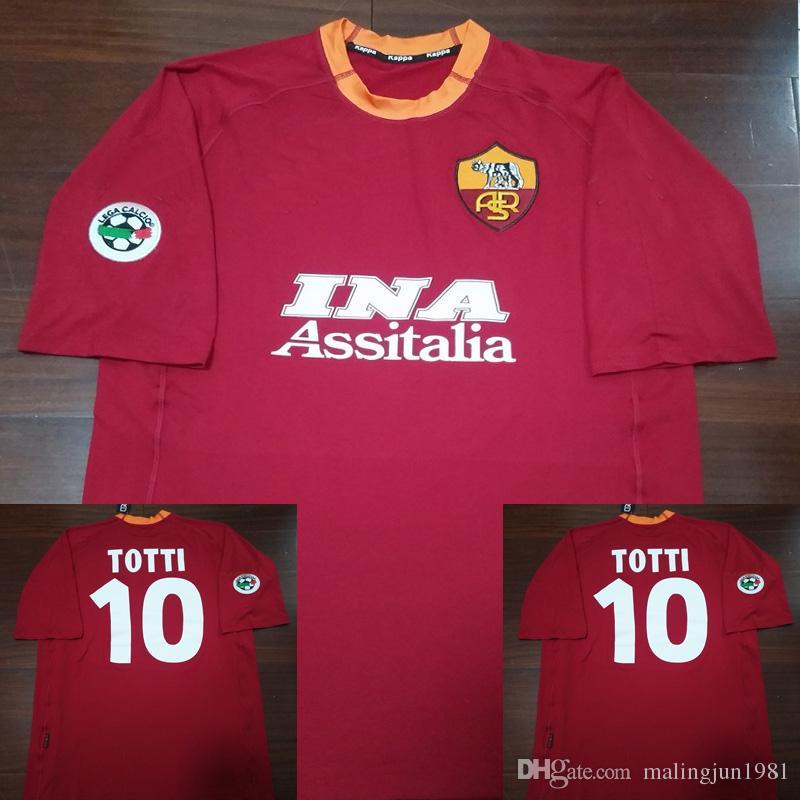 Compre 00 01 Italia Roma Jersey De Fútbol Francesco Totti Batistuta Retro  2000 2001 Camisetas De Fútbol Clásico Vintage Maillot De Foot A  33.44 Del  ... ab3b24e3c506e