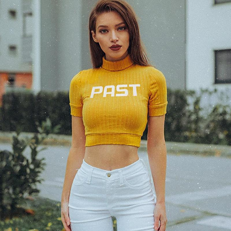 e351dbf5 Turtleneck Short Sleeve T Shirt Women Sexy Summer Crop Top Letter Print Fit  Slim Cropped Tee Shirt Stripe WHT2009 Quirky T Shirt Awesome T Shirts For  Sale ...