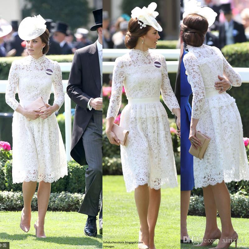 3bd234ff150e Kate Middleton, la misma línea de vestidos de encaje, ahueca hacia fuera  las mangas largas del otoño Vestido a media pierna con encaje y flor  soluble ...