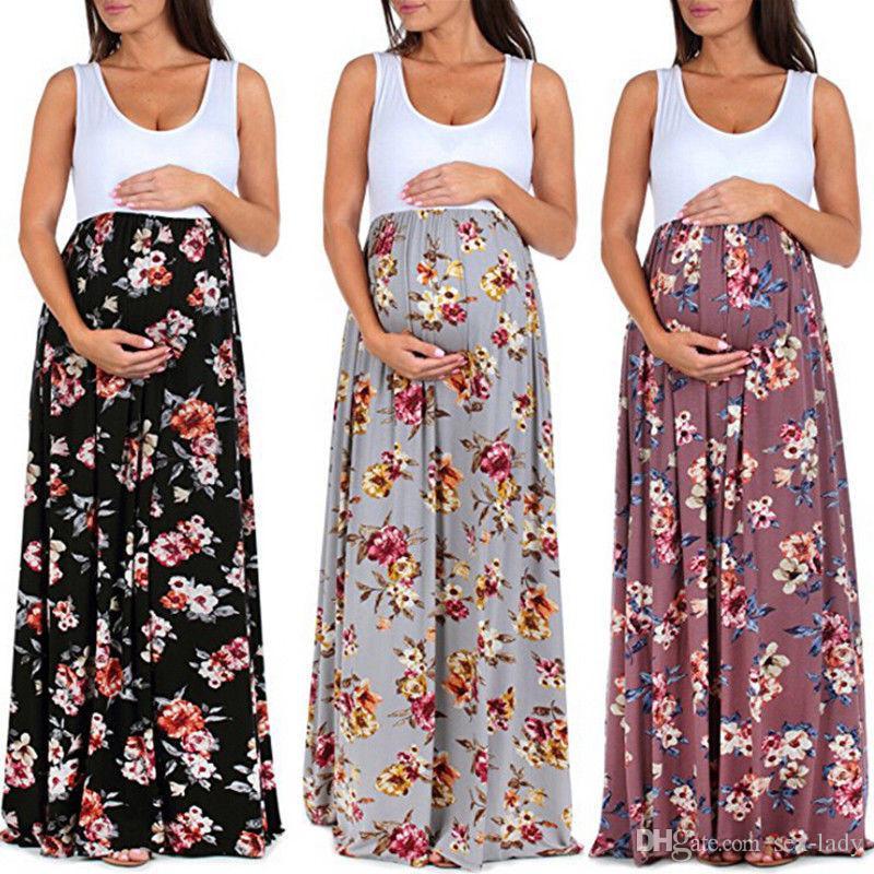 1c56d7e23 Compre 2018 Vestidos De Maternidad Para Mujeres Embarazadas Ropa De Verano Vestido  De Playa Sin Mangas Con Estampado Floral Para Mujeres Embarazadas A  9.55  ...