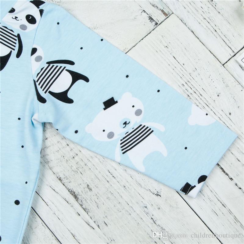 Yenidoğan Giysileri 2018 İlkbahar Sonbahar Bebek Erkek Kız Uzun Kollu Tulum Bebek Panda Çocuk Erkek Giysileri Kıyafetler Bebek Için Baskı Tulum