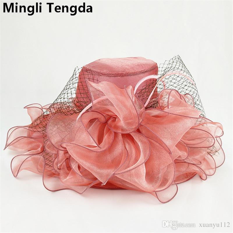 2018 New Purple Fashion Organza Hats Exaggeration Big Wedding Hats for Women Elegant Bridal Wedding Hats Bridal Accessories Mingli Tengda
