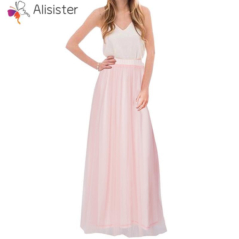 e450af3969 Compre 2018 Mujeres Pink Mesh Chiffon Faldas Largas Cintura Alta Falda Maxi  Plisada Vacaciones Playa Boho Vintage Otoño Tulle Faldas Saias A  22.87 Del  Oott ...