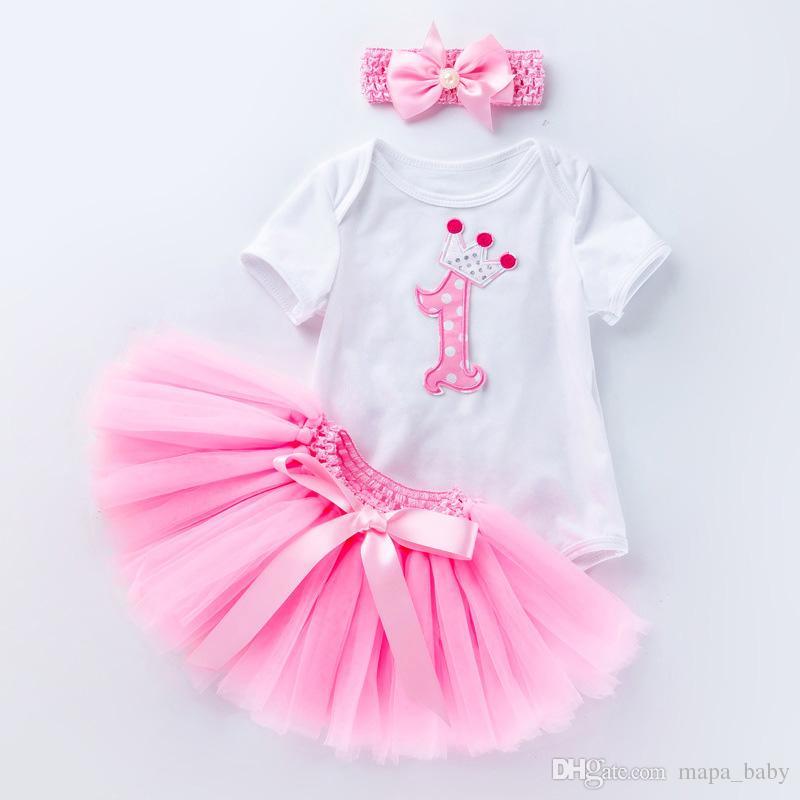 1ac0578ce865 Baby Birthday Rompers Girl TUTU Dress Romper Set Kids Lace Skirt ...