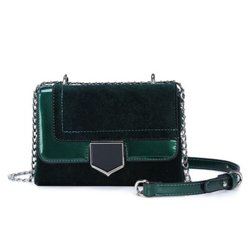 a91573cf4 Vintage Luxury Elegant Green Women'S Shoulder Bag Leather Velvet Patchwork  Women'S Handbags Designer Lady'S Bag Female Handbags Purses Designer  Handbags ...