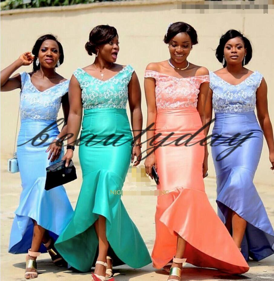 22a3ec60105 Lavender 2019 Modest Nigerian African Bridesmaid Dresses Maid Of Honor  Gowns Formal Wedding Party Guest Dress Hi Lo Vestidos De Fiesta Sparkly  Bridesmaid ...