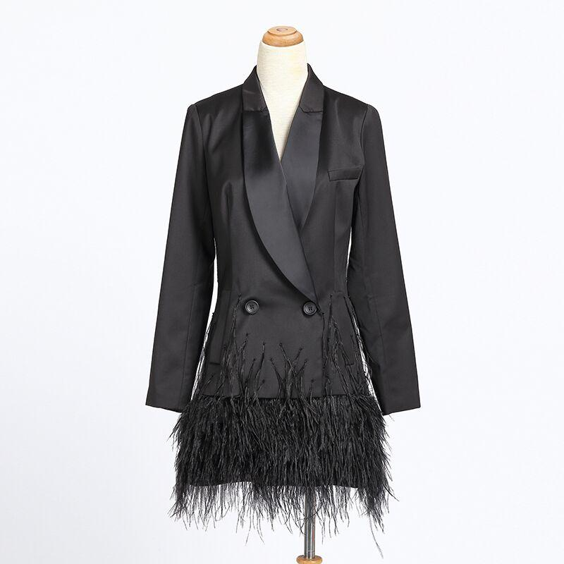 2018 Fashion elegant Bussiness Lady Design Solid Black Long Blazer Single Button Notched Slim Feather Patchwork Blazers Jacket