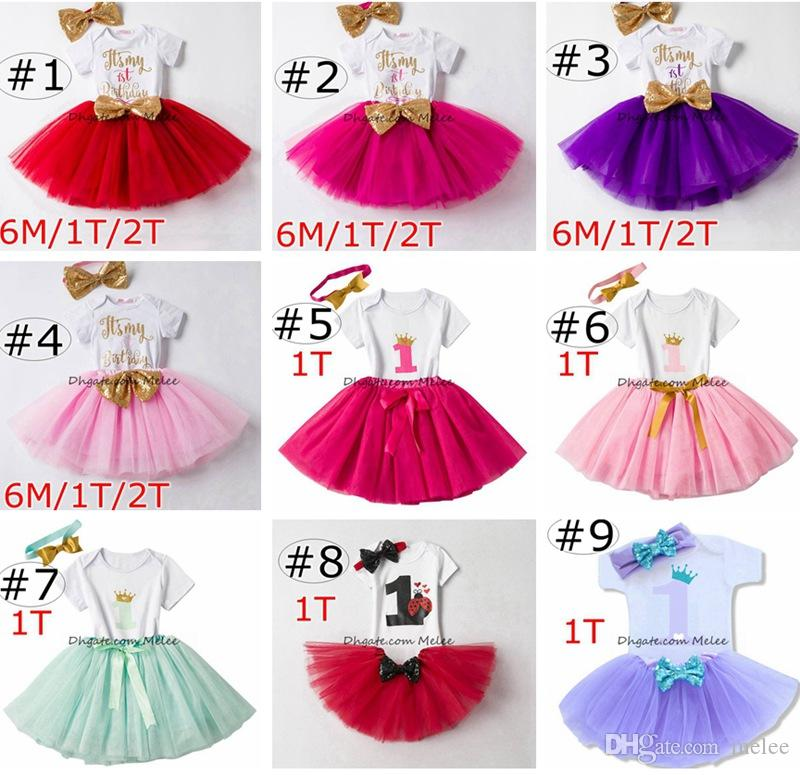 10c39c593627 2019 Ins Baby Girls Birthday Rompers   TUTU Skirts   Headband Sets Infant  Toddler Girl Bubble Skirt Princess Dress Baby Summer Cotton Outfits From  Melee