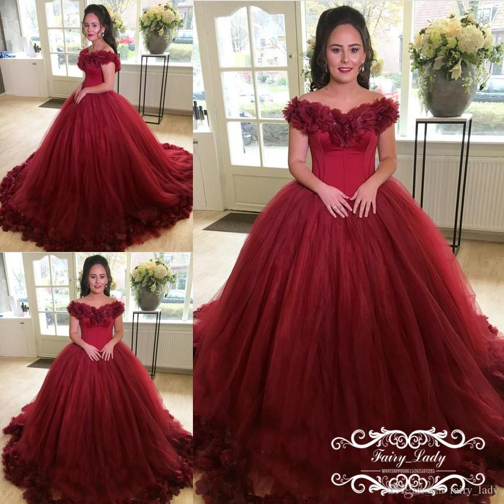 Burgundy Rose Flowers Quinceanera Dresses Long Chapel Train 2018 Off