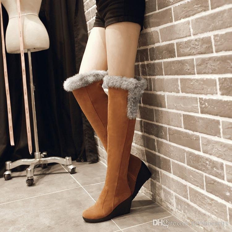Lena ViVi Black Fur Boots Women Wedge Heels Over The Knee Thigh High Boots Winter Shoes 4 Colors 2018 Size 34 To 39