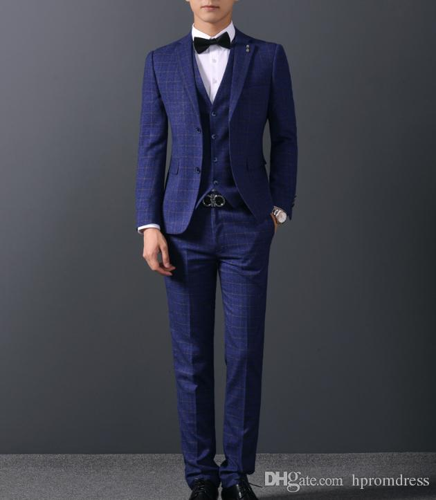 2018 New Blue stripe blazer Groomsmen Suits Slim Fit Mens Wedding Dress Prom Dinner Suit Groom Tuxedos jacket pant
