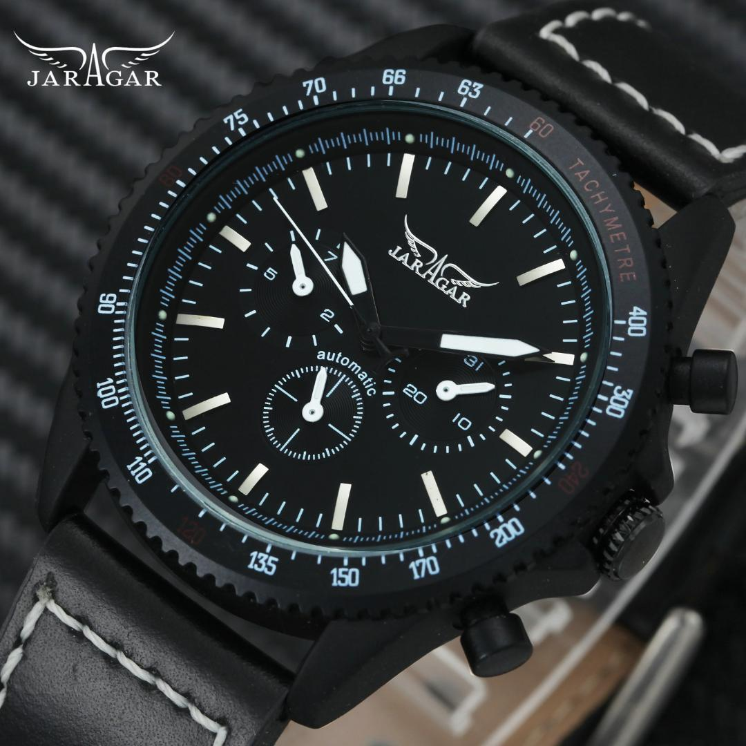 JARAGAR Casual Sport Auto Mechanical Watch Correa de cuero para hombres 3 diales 6 Hands Fashion Concise Design Relojes de pulsera relogio