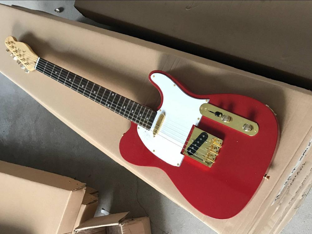 Top Quality New Style Telecaster Red Electric Guitar With Gold