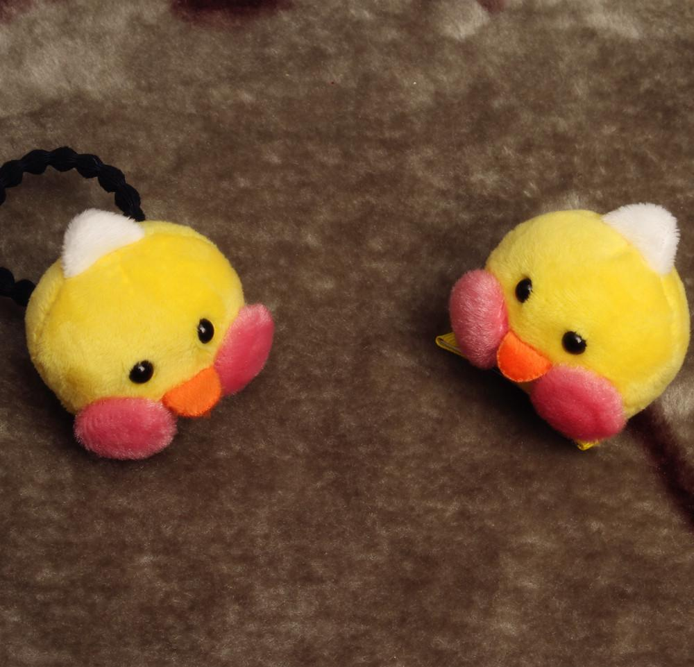 Newly Design Short Plush Yellow Duck Hairpins Children Elastic Hair ...