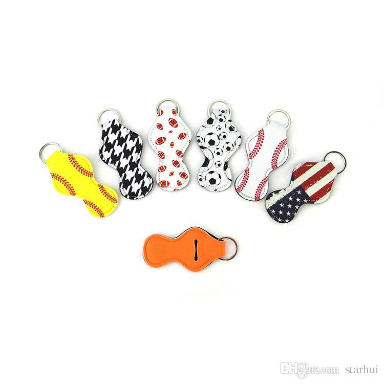 Coloré porte-clés rouge à lèvres KeyRing Holder support en néoprène Baseball Softball Stripe impression rouge à lèvres Housse Etui Party Favor WX9-574