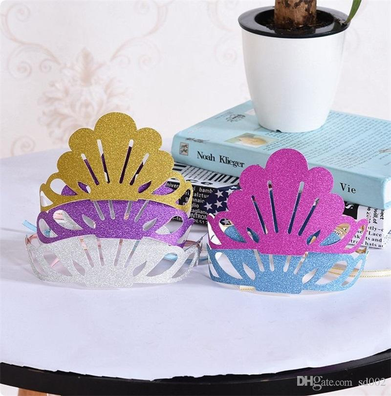 Paper Shell Hat Fashion Children Birthday Cap Multi Color Gold Powder Hats Party Decor 1 08dy C R