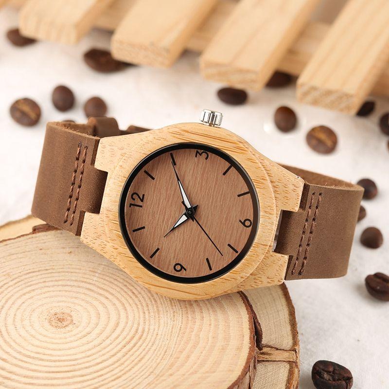 Orologio da donna in bambù con numeri incisi a mano bracciale in vera pelle da donna casual in legno da polso le donne